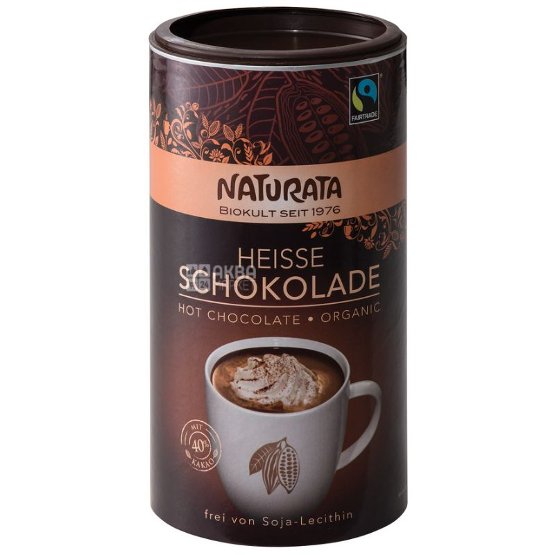Naturata, Heisse schokolade, 350 г, Натурата, Гарячий шоколад, органічний, тубус