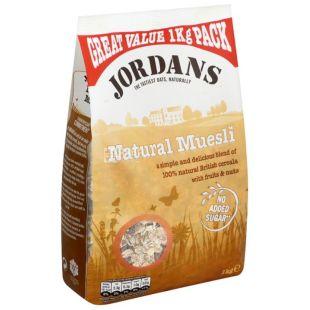 Jordans, 1 кг, Мюсли Джорданс, смесь злаков, с сухофруктами, без сахара, сухой завтрак, быстрого приготовления