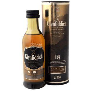 Glenfiddich 18 y.o., Виски односолодовый, 0,05 л, тубус