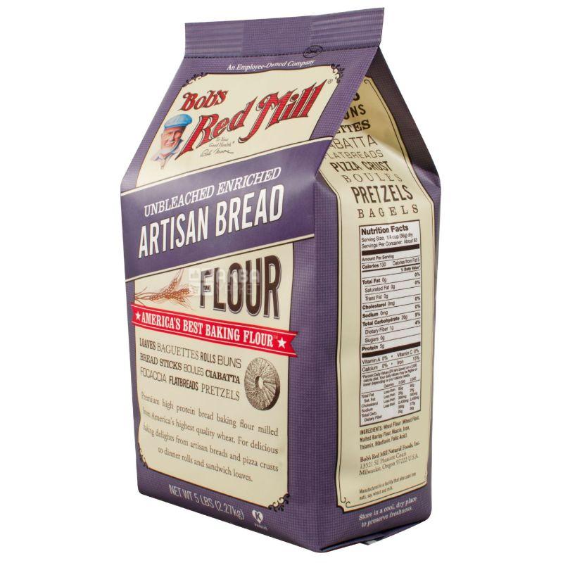 Bob's Red Mill, Artisan Bread, 2,268 кг, Борошно Бобс Ред Мілл, пшенично-ячмінне, для випічки хліба