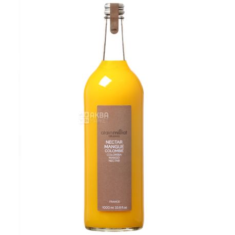Alain Milliat, Nectar de Mangue, Манго, 1 л, Ален Миллиат, Нектар натуральный, стекло