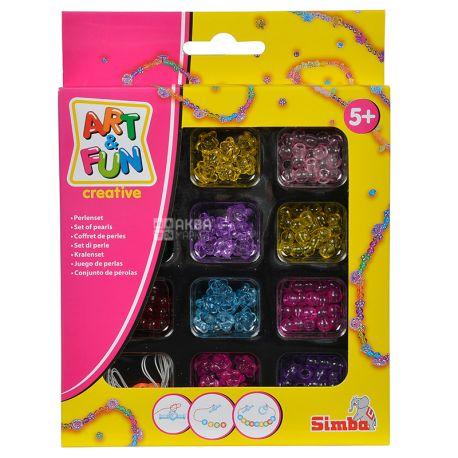Simba, Набор бусин для рукоделия Стильный дизайн, пластик, 4 вида, для детей с 5-ти лет