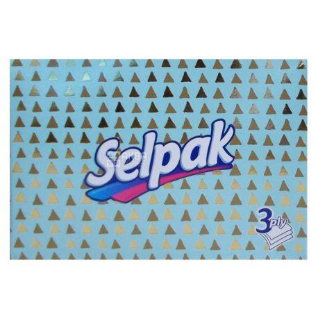 Selpak, 70 шт., Серветки гігієнічні Селпак, Міні Мікс, 3-х тришарові, 21.5х16 см, білі