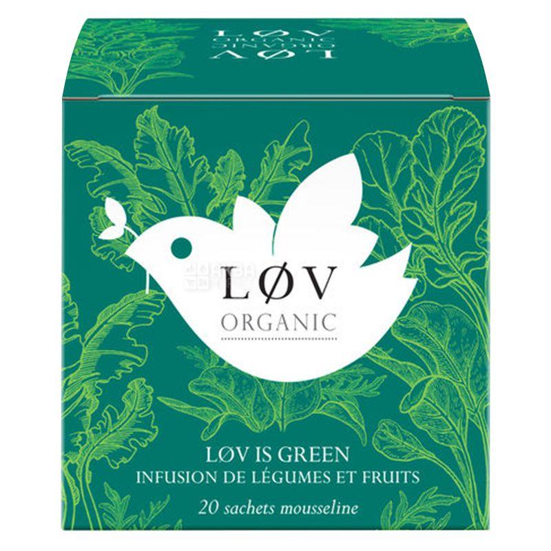 LoV Organic, Lov is Green, 20 шт., Чай Лов Органик, Зеленая любовь, Овощной органический, с фруктами