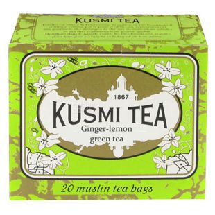Kusmi Tea, Ginger-lemon, 20 пак. х 2,2 г, Чай Кусми Ти, Имбирь-лимон, зеленый