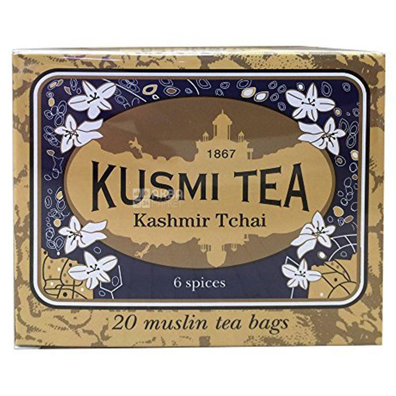 Kusmi Tea, Kashmir Tchai, 20 пак. х 2,2 г, Чай Кусми Ти, Кашемир, черный, со специями