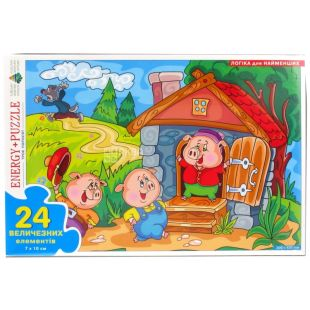 Energy Plus, board puzzle game Three piglets, cardboard, 7x10 cm, 24 elements