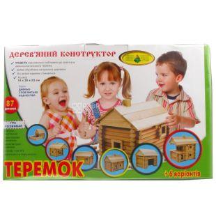 Энергия плюс, Конструктор деревянный Теремок, для детей с 6-ти лет, 87 деталей