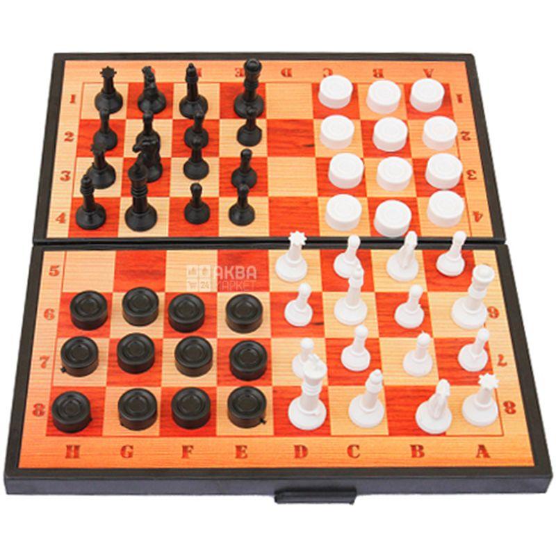 Maximus, Набор игровой 3в1, Шашки, шахматы, нарды, пластик, детям от 5 лет