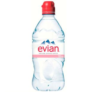 Evian, Non-carbonated water, 0.75 L, PET