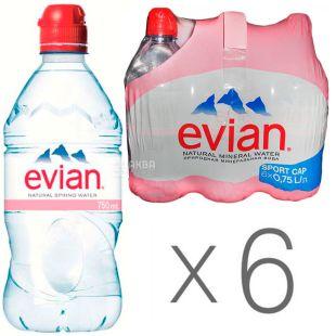 Evian, Спорт, 0,75 л, Упаковка 6 шт., Эвиан, Вода негазированная, ПЭТ