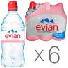Evian, Спорт, 0,75 л, Упаковка 6 шт., Евіан, Вода негазована, ПЕТ