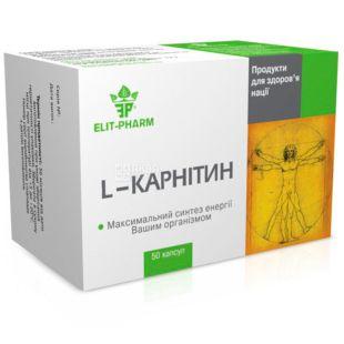 Elit Pharm, L-карнітин, дієтична добавка, 50 капсул