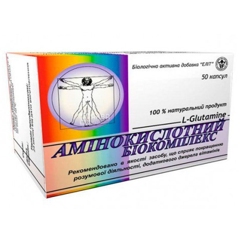 Elit Pharm, Аминокислотный биокомплекс, диетическая добавка, 50 капсул