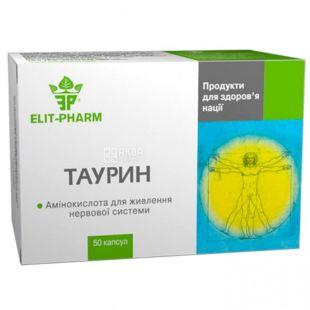 Elit Pharm, Таурин биоактив, диетическая добавка, 50 капсул