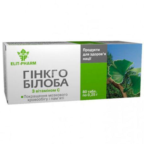 Elit Pharm, Гінкго білоба з вітамінами групи C, дієтична добавка, 80 капсул