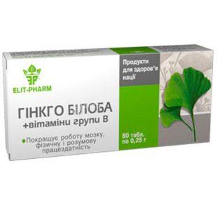 Elit Pharm, Гинкго билоба с витаминами группы B, диетическая добавка, 80 капсул