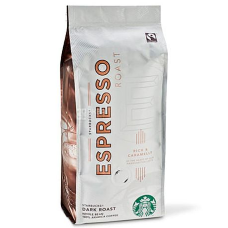 Starbucks Espresso Roast, 250 г, Кофе Старбакс Эспрессо Роаст, темной обжарки, в зернах
