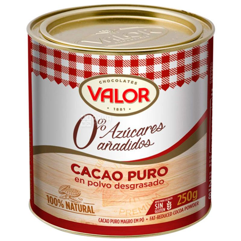 Valor, Cacao Puro, 250 г, Валор, Какао, без сахара, ж/б