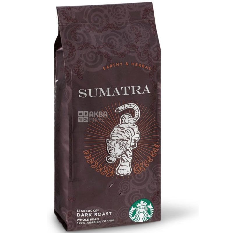 Starbucks Dark Sumatra, 250 г, Кофе Старбакс Суматра Дарк, темной обжарки, в зернах