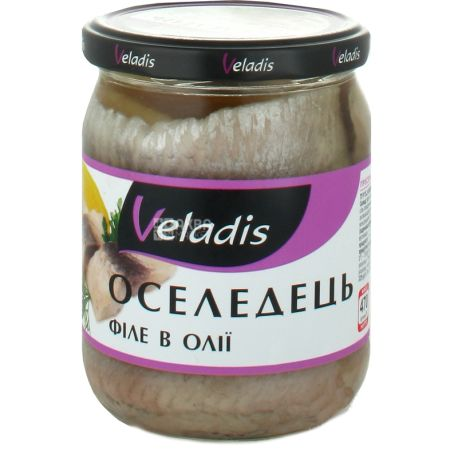 Veladis, Филе сельди в масле, пресервы, 470 г