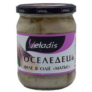 Veladis, Філе оселедця в олії Матьє, пресерви, 470 г