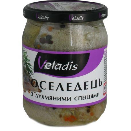 Veladis, Филе сельди в масле с душистыми специями, пресервы, 470 г
