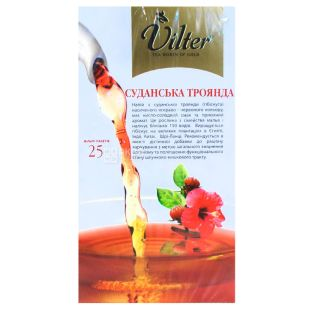 Vilter, Hibiscus, 25 packs., * 2 g, Tea Wilter, Sudanese Rose