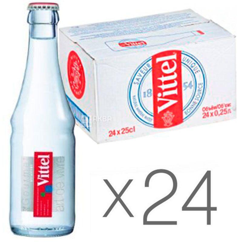 Vittel, 0,25 л, Упаковка 24 шт., Виттель, Вода минеральная негазированная, стекло