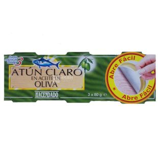 Hacendado Claro, Tuna in olive oil, 3 pcs. x 80g