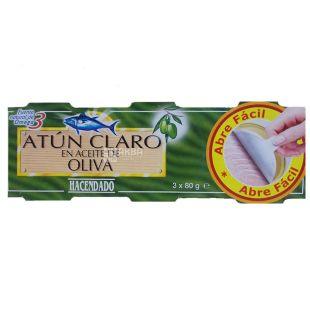 Hacendado Claro, Тунец в оливковом масле, 3 шт. x 80 г