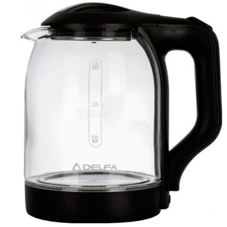 Delfa DK2500, Чайник электрический, стекло, 1,8 л