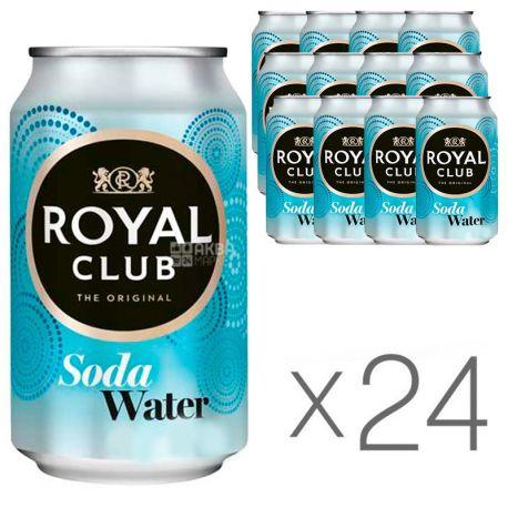 Royal Club, Soda Water, Упаковка 24 шт. по 0,33 л, Роял Клаб, Вода содовая, Напиток газированный, без сахара, ж/б