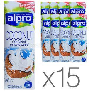 Alpro, Coconut Original, Упаковка 15 шт. по 250 мл, Алпро, Кокосове молоко, оригінальне, без цукру та лактози, з вітамінами