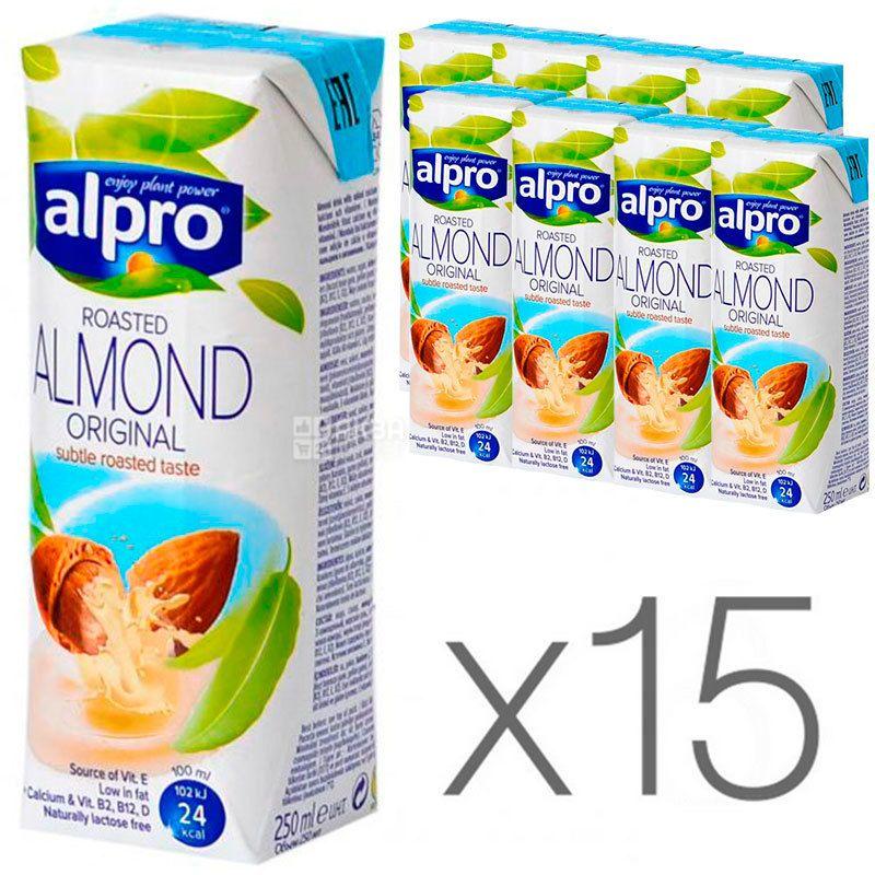 Alpro, Almond Original, Упаковка 15 шт. по 250 мл, Алпро, Миндальное молоко, оригинальное, витаминизированное