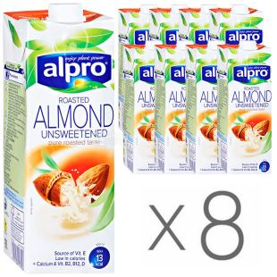 Alpro Almond Unsweetened, Almond Milk Without Sugar, 1 L, pack of 8 pcs.