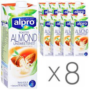 Alpro Almond Unsweetened, Молоко миндальное без сахара, 1 л, упаковка 8 шт.