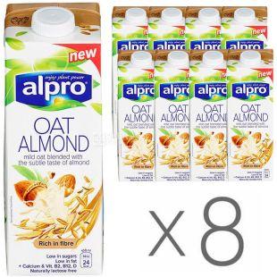 Alpro Almond and Oat, Растительное молоко миндально-овсяное, 1 л, упаковка 8 шт.