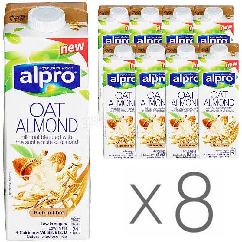 Alpro Almond and Oat, Упаковка 8 шт. по 1 л, Алпро, Миндально-овсяное молоко, витаминизированное