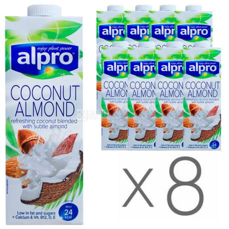 Alpro Coconut and Almond, Упаковка 8 шт. по 1 л, Алпро, Миндально-кокосовое молоко, витаминизированное
