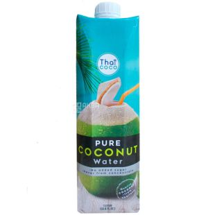 Thai Coco, Coconut water, 1 л, Тай коко, Кокосова вода, негазована, без цукру