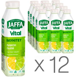Jaffa Vital Immunity, Non-carbonated drink, Lemon-Lime with ginger extract, 0.5 l, pack of 12 pcs.