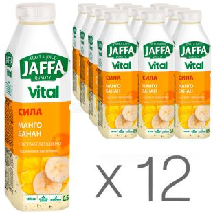Jaffa Vital Power, Non-carbonated Drink, Mango-Banana with ginseng extract and vegetable proteins, 0.5 l, pack of 12 pcs.