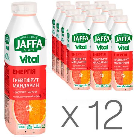 Jaffa, Vital Energy, 0,5 л, Упаковка 12 шт., Джаффа, Напиток соковый, Грейпфрут-Мандарин с экстрактом гуараны, ПЭТ