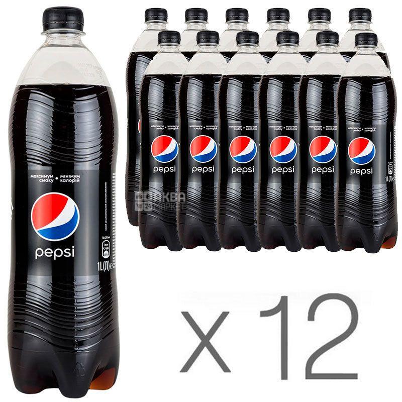 Pepsi-Cola, Black, Упаковка 12 шт. по 1 л, Пепси-Кола, Блэк, Вода сладкая, низкокалорийная, ПЭТ
