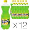 Fanta, Лимон, Упаковка 12 шт. по 1 л, Фанта, Вода сладкая, с натуральным соком, ПЭТ