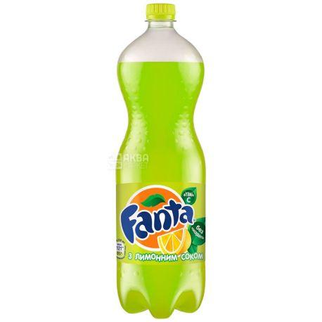 Fanta, Лимон, 1,5 л, Фанта, Вода сладкая, с натуральным соком, ПЭТ