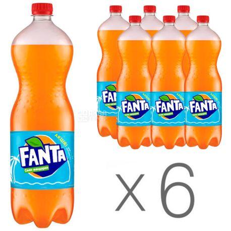 Fanta, Мандарин, Упаковка 6 шт. по 1,5 л, Фанта, Вода сладкая, с натуральным соком, ПЭТ
