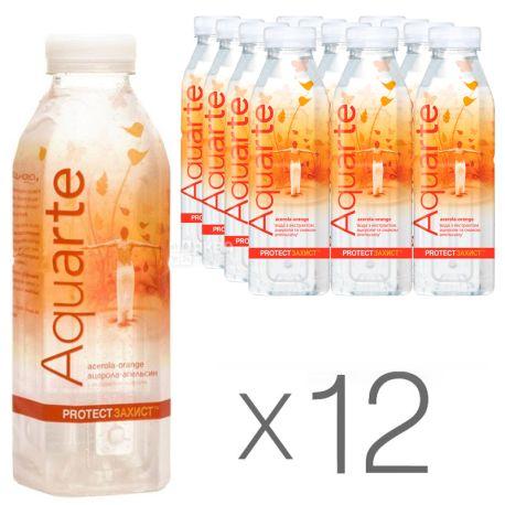Aquarte Protect, 0,5 л, Упаковка 12 шт., Акварте Протект, Вода негазированная с экстрактом ацеролы и вкусом апельсина, ПЭТ