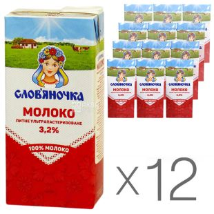 Slim, Milk, ultra-pasteurized 3,2%, 1 l, packaging 12 pcs.